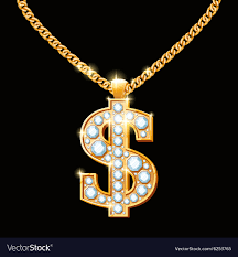 gold necklace hip hop images Dollar sign with diamonds on gold chain hip hop vector image jpg