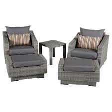 Bliss Patio Furniture Rst Brands Cannes 5pc Club Chair And Ottoman Set With Charcoal