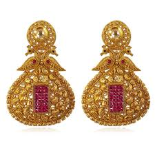 gold earrings with price buy jacinda golden earrings in peacock shape with ruby pink