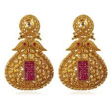 buy jacinda golden earrings in peacock shape with ruby pink
