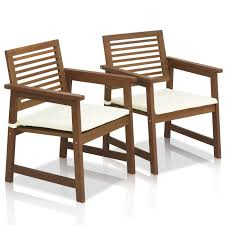 Garden Bench With Cushion Langley Street Arianna Teak Hardwood Outdoor Chair With Cushion