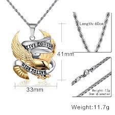 stainless steel necklace pendant images Fashion eagle necklace pendants live to ride biker sport men gold jpg