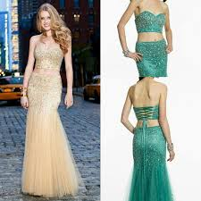 fashion two pieces crystal evening dresses beads shiny mermaid