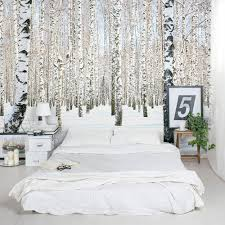 bedroom creative wall mural inspiration fascinating ideas birch trees in winter bedroom wall mural