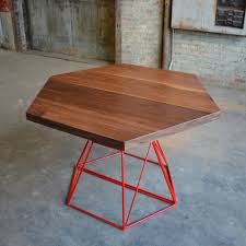 Modern Dining Table With Extension Modern Hexagon Dining Table With Extension Top In Walnut And Steel