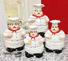 fat chef kitchen canister set of 4