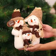 doll plush snowman family toys decoration for