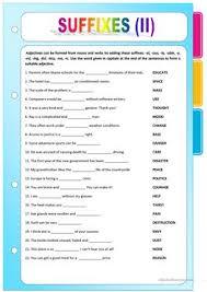 11 free esl noun suffixes worksheets