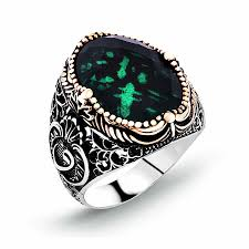 rings with stone images 925 silver vav model ring with green zircon stone rings tesbihane jpg