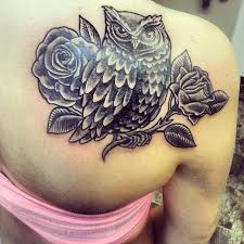 nice upper back simple rose owl tattoo golfian com