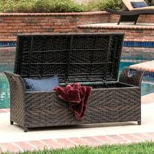 outdoor wicker storage bench seat with wing by knight home