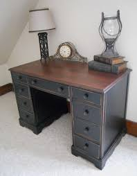 love the wood top and painted distressed bottom must do this cherry wood deskdark