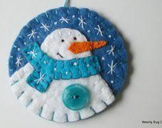snowman ornament chevron button ivory wool felt snowman