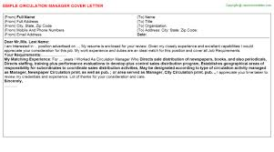 circulation manager cover letter