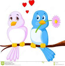 cartoon couple bird on a branch stock vector image 49490857