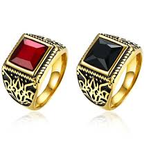 fashion golden rings images Vintage and new fashion stainless steel square red black glass jpg