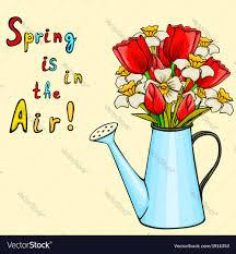 Image Of Spring Flowers by Cartoon Watering Can With Bunch Of Spring Flowers Vector Image