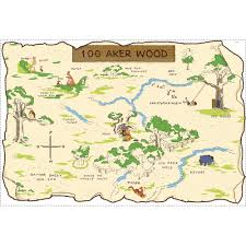 Map My Friends Roommates 3 5 In X 27 In Winnie The Pooh 100 Aker Wood Peel And