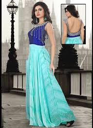 excellent sky blue pure georgette hand work party wear gown