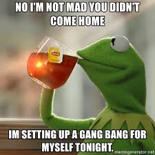 Gang Bang Memes - no i m not mad you didn t come home im setting up a gang bang for