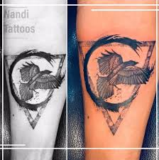 geometric raven tattoo at nandi tattoo studio hyderabad india