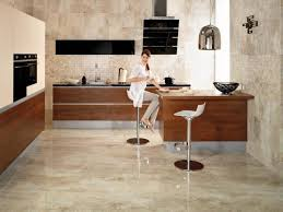 elegant marble floor with white stools for small kitchen layout