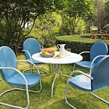 crosley furniture griffith metal five piece outdoor dining set dining table in white finish with sky blue finish chairs