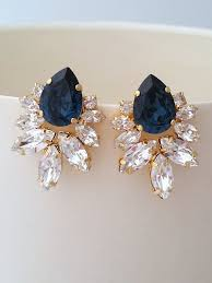 navy blue earrings blue earrings bridal earrings navy blue earrings navy blue