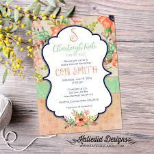boho baby shower invitation floral monogram idea sprinkle