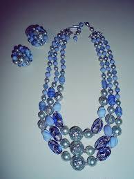 blue glass necklace vintage images Vintage 1950 39 s ladies blue glass beaded wedding jewelry set jpg
