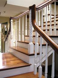 Mahogany Banister San Diego Railings And Stairs U2013 Two Tone Over The Post Staircase