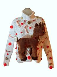 big plush rudolph the nosed reindeer custom sweater