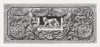 ornament with romulus remus and the capotoline wolf published 1880