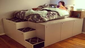 Platform Bed Diy Drawers by Ikea Hack Platform Bed Diy Youtube