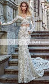 two pieces wedding dresses 2016 ivory lace long sleeves bridal