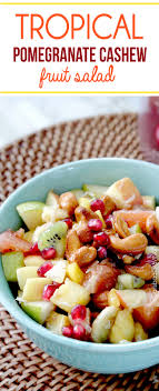 tropical winter fruit salad with caramelized cashews and