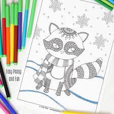 raccoon winter coloring adults kids easy peasy fun