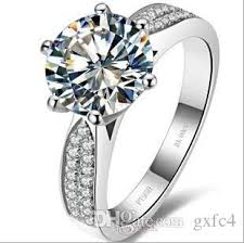 3 diamond rings 3 ct synthetic diamond rings sterling silver wedding bands for