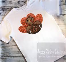 turkey and football monogram frame appliqué embroidery design