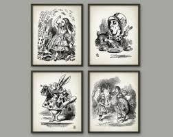 alice wonderland wall art etsy