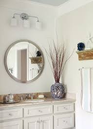 Pottery Barn Bathrooms by White Wall Paint Round Mirror With Frame Wall Lamps Granite