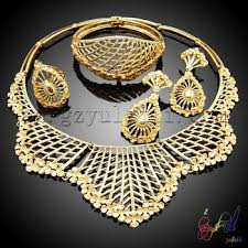 24k gold plated fashion jewelry sets of imitation wedding bridal