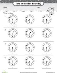 telling time half hour on the half hour telling time with clockwork cat worksheet