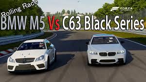 bmw race series forza motorsport 6 drag race bmw m5 vs mercedes c63 amg black
