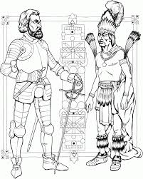 indian man and knight inca empire coloring page history free