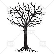 black silhouette tree with roots royalty free vector