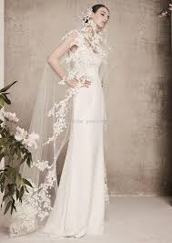 discount embroidery wrap scoop neck a line satin wedding dresses