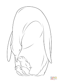 baby penguin with mother coloring page free printable coloring pages
