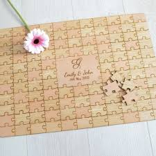 personalised wooden wedding jigsaw puzzle guestbook pretty