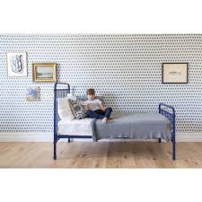 Sofa Bed Metal Frame Willie Modern Navy Blue Metal Bed Twin Kathy Kuo Home